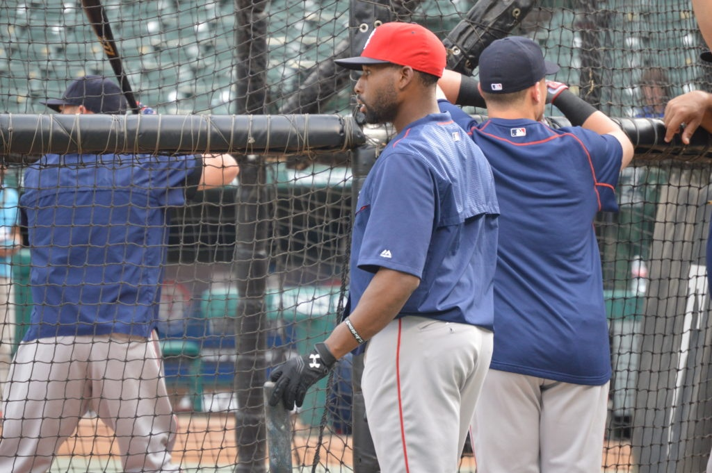 Jackie Bradley, Jr., watches as his teammates take batting practice on June 25, 2016 at Globe Life Park in Arlington. (Source: I Am Second)