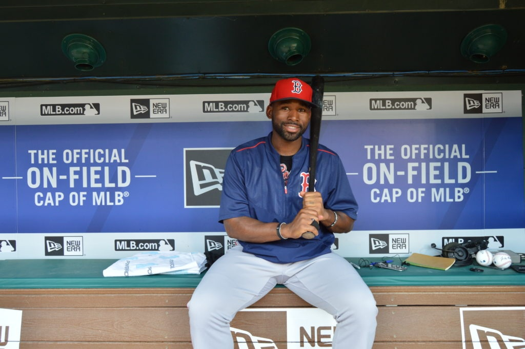 Jackie Bradley Jr., the center fielder for the Boston Red Sox, poses from the dugout with his I Am Second bracelet. (Source: I Am Second)