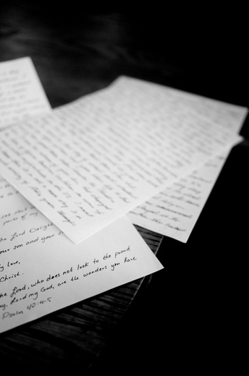 The letter on top is the one Rachel received the day we talked. (Source: I Am Second)