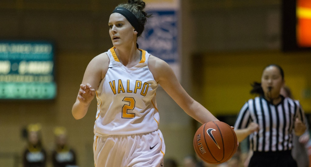 (Meredith Hamlet, a freshman basketball player at Valp, decided to pick the number two as her jersey number in honor of her faith. Credit: Valpo University)