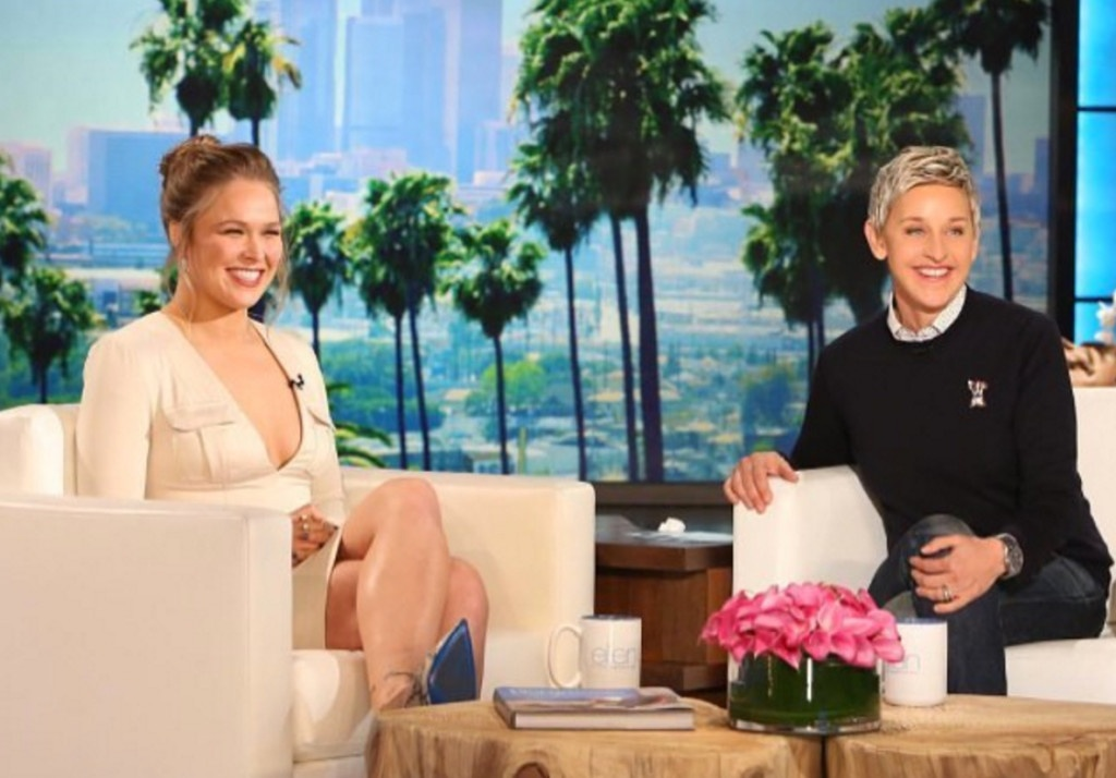 """Rousey visiting the show """"Ellen."""" (Source: Instagram.com/rondarousey)"""