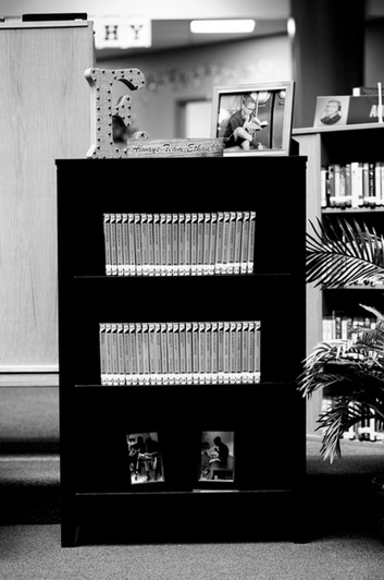 """One of the shelves dedicated to Ethan in the library of Frank Seale Middle School. All the books include an """"EH"""" sticker to mark their section. (Source: I Am Second)"""