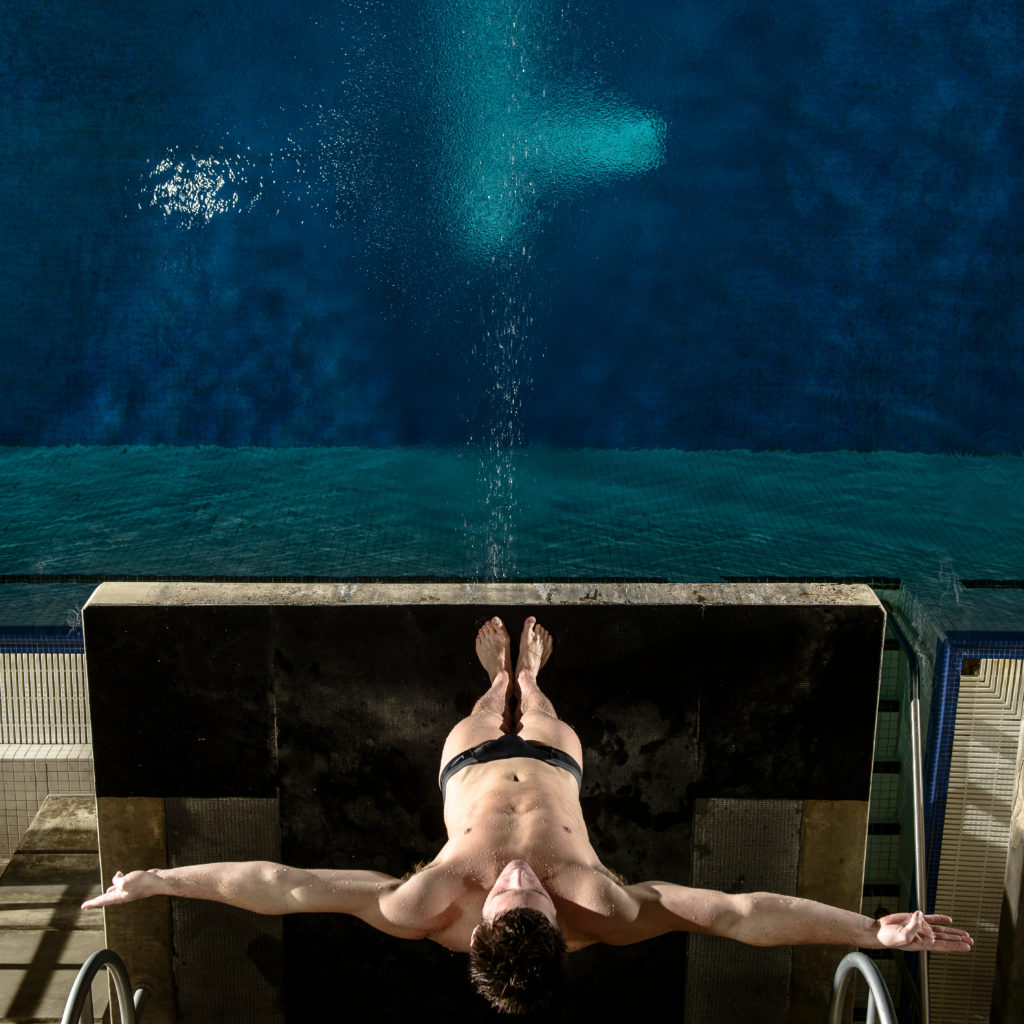 Olympian David Boudia about to perform a dive. After embarrassment in 2008, he became a gold medal-winner in 2012. (Photo source: Thomas Nelson)